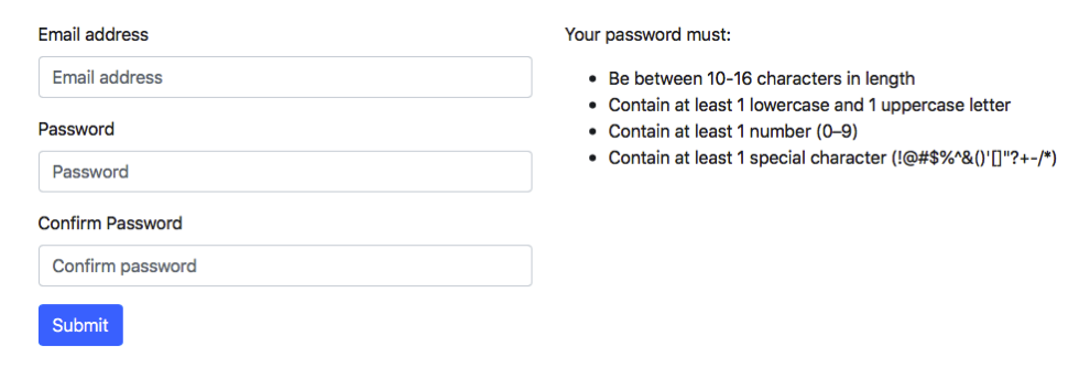 Password Screen with Instructions