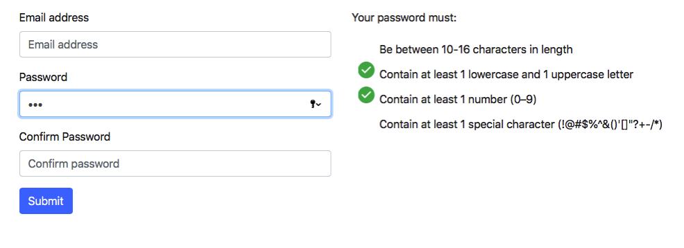 Password Screen Visual Validation
